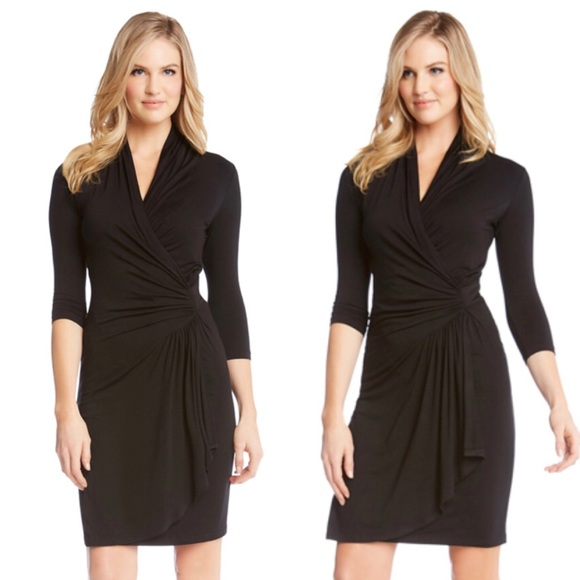 Karen Kane Dresses Black Cascade Faux Wrap Dress Sz Large Poshmark